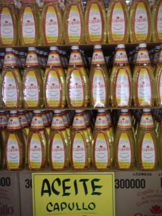 Aceite capullo en supermercado Cancún