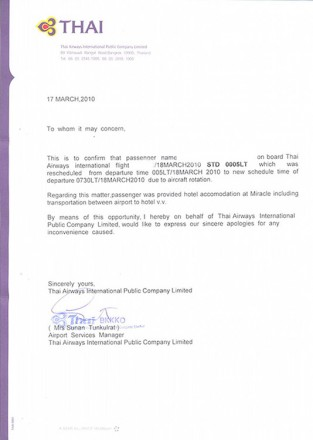 Justificante Thai Airways