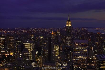 Manhattan de noche desde el Rockefeller Center