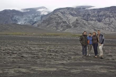 Los protagonistas en la cara norte del Eyjafjallajökull: Carlos, Pilar, Noelia y yo