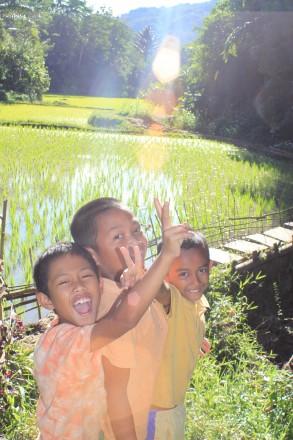 Niños posando después de intentar pescar en el mar verde arrozal