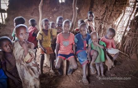 Niños Masai en la escuela