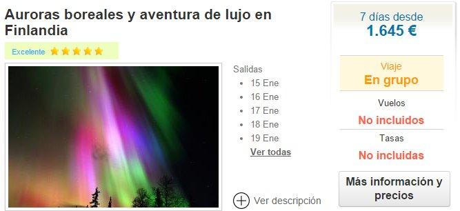 Viajes a Finlandia para ver Auroras Boreales