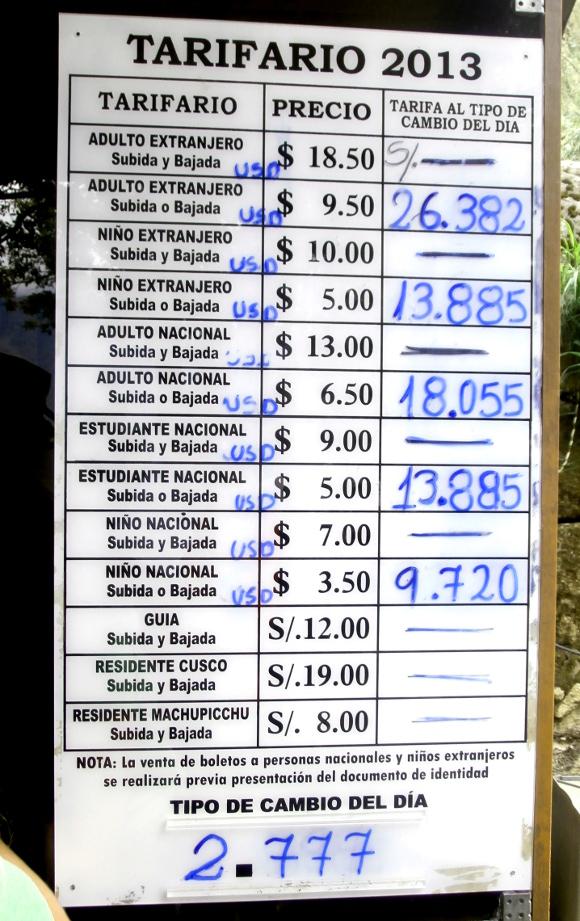 Precios en los viajes a Perú