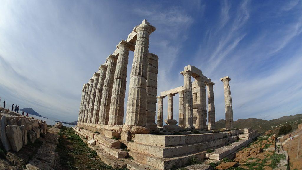 Templo del Poseidon Grecia en moto